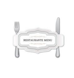 cutlery set restaurante menu card template design vector image