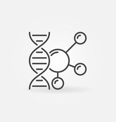 dna with molecule outline icon genetics vector image