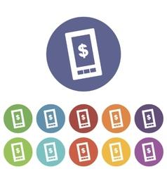 Dollar phone flat icon vector image