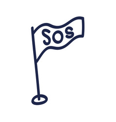 doodle flag with inscription sos help and vector image