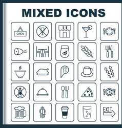 Eating icons set collection of coffee cup vector