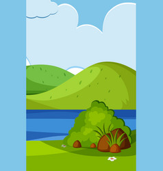 Empty nature scenes with green mountain and blank vector
