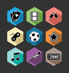 Entertainment icons set flat vector image