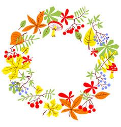 fall season wreath autumn border with bright vector image
