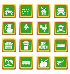 Farm icons set green vector