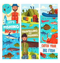Fishing travel sport and fish catch banners vector