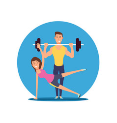 fitness fun person cartoon characters flat vector image