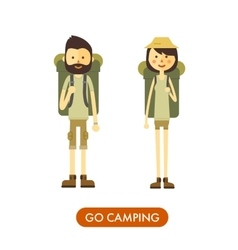 Flat cartoon couple with hiking equipment isolated vector image