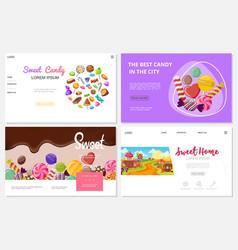 flat sweets websites set vector image