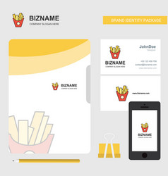 fries business logo file cover visiting card and vector image