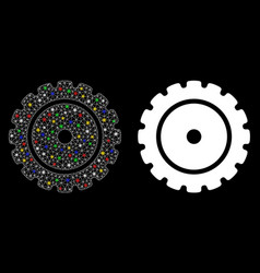 Glowing mesh wire frame cog icon with flare spots vector