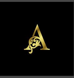 Gold luxury letter a ornament logo alphabet vector