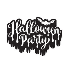 halloween party poster hand drawn lettering with vector image