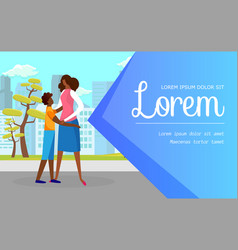 happy mother tenderly embracing son on urban view vector image