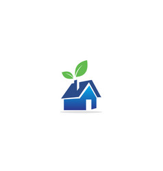 home realty eco leaf logo vector image