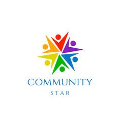 Human star charity diversity community logo design vector