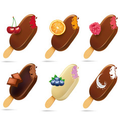 Ice cream popsicles with different fruits vector