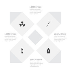Icon battle set of biology peril substance vector