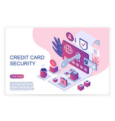 Isometric website page representing credit card vector