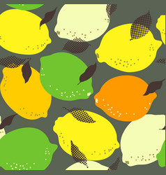 lemon citrus fruits seamless pattern limes and vector image