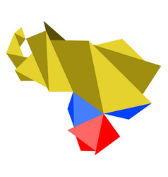 low poly style map of venezuela vector image