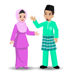 Malay couple greeting selamat hari raya vector