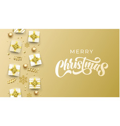 merry christmas greeting card calligraphy on gold vector image