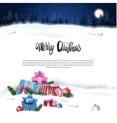 merry christmas holiday card with presents over vector image