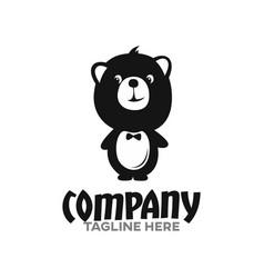 modern smart teddy bear logo vector image