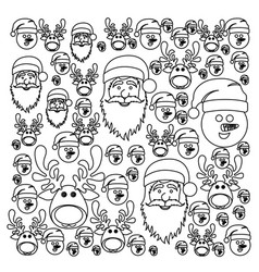 monochrome pattern of christmas faces silhouettes vector image