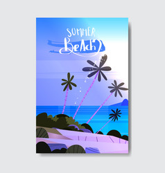night summer time landscape palm tree beach badge vector image