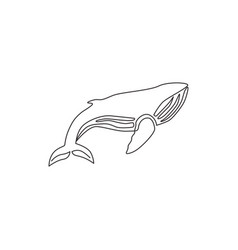 one single line drawing big fish whale vector image