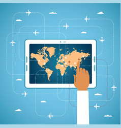 online air ticket booking and global travel vector image