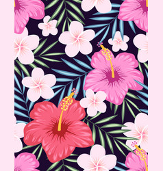 Pattern hibiscus and tropical leaves vector