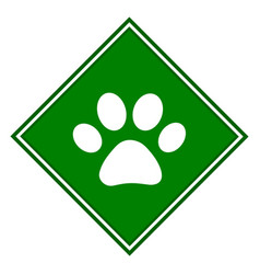 Paw on green icon symbol sign vector