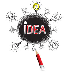 Pencil idea isolate write big red idea business vector