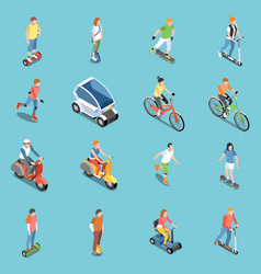 personal eco transportation icons set vector image