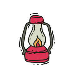 Pink vintage lantern with glowing fire wick in vector
