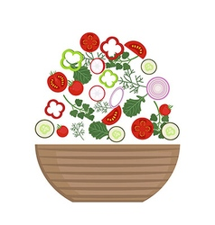 Plate of fresh salad vector
