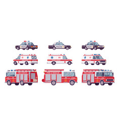 police car ambulance fire truck set vector image