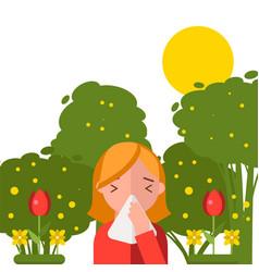 Pollen allergy sneezing girl in spring nature vector