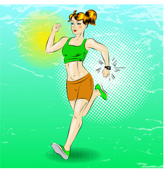 Pop art of sporty girl running vector