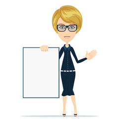 Portrait of the business woman with a represent vector