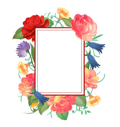 postcard with a square frame of roses vector image