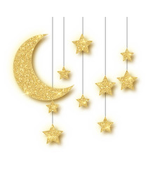 ramadan golden decoration isolated on white vector image