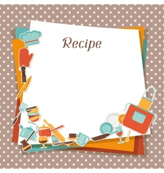 Recipe background with kitchen and restaurant vector image