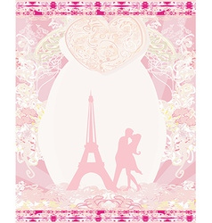 Romantic couple silhouette in Paris kissing near vector image