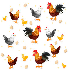 Rooster chicken and eggs pattern eco vector