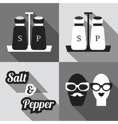 salt and pepper containers and icons set vector image