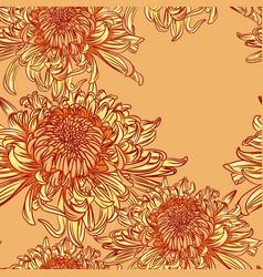 Seamless pattern with orange chrysanthemums vector
